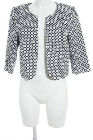Comma Kurz-Blazer weiß-schwarz abstraktes Muster Casual-Look