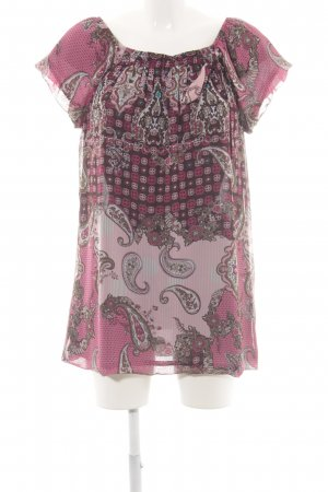 Comma Kurzarm-Bluse pink abstraktes Muster Casual-Look