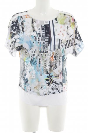 Comma Kurzarm-Bluse abstrakter Druck Casual-Look