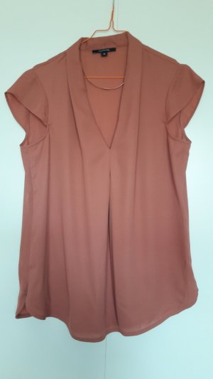 Comma Kurzarm Bluse antik-rosa V-Ausschnitt Gr. 36