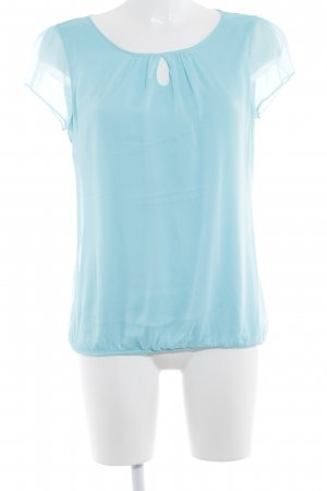 Comma Kurzarm-Bluse babyblau Casual-Look