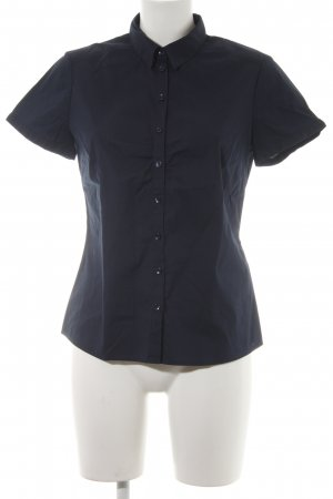 Comma Kurzarm-Bluse dunkelblau Business-Look
