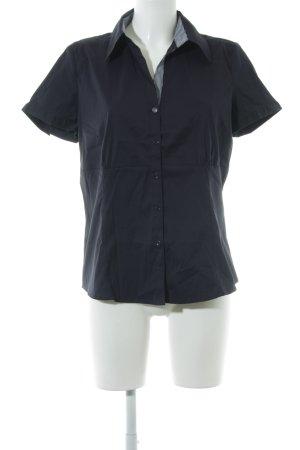 Comma Kurzarm-Bluse dunkelblau klassischer Stil