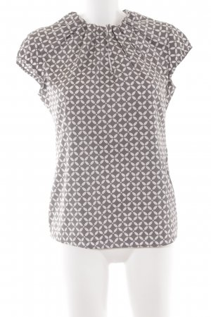 Comma Kurzarm-Bluse graubraun-weiß florales Muster Casual-Look