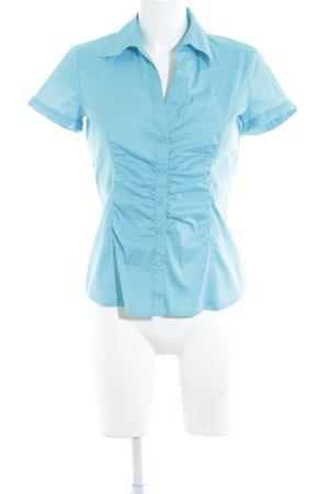 Comma Blouse à manches courtes bleu clair style d'affaires
