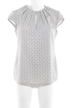 Comma Blouse à manches courtes gris clair-blanc motif abstrait style classique