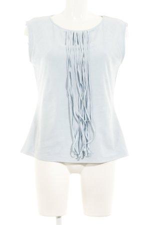 Comma Kurzarm-Bluse himmelblau Casual-Look