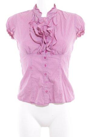 Comma Kurzarm-Bluse magenta-weiß Streifenmuster Casual-Look