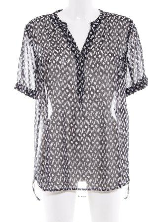 Comma Kurzarm-Bluse schwarz-wollweiß abstraktes Muster Elegant