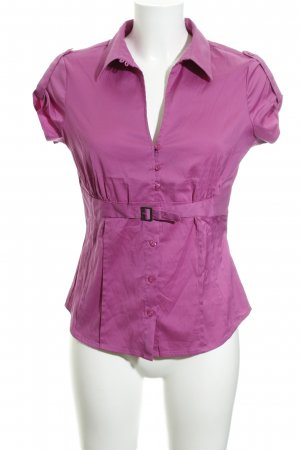 Comma Kurzarm-Bluse violett Casual-Look