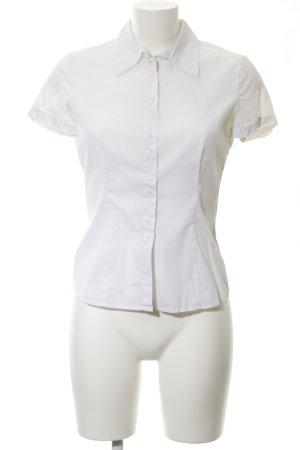 Comma Kurzarm-Bluse wollweiß klassischer Stil