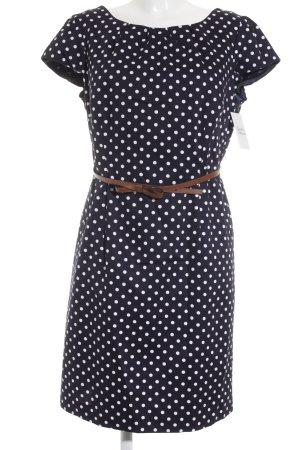 Comma Kurzarmkleid dunkelblau-weiß Punktemuster Elegant