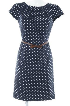 Comma Kurzarmkleid dunkelblau-weiß Punktemuster Romantik-Look