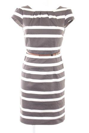 Comma Kurzarmkleid grau-weiß Ringelmuster Business-Look