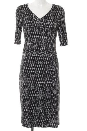 Comma Kurzarmkleid schwarz-weiß abstraktes Muster Casual-Look