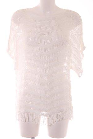 Comma Jersey de manga corta blanco puro Patrón de tejido look casual