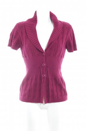 Comma Kurzarmstrickjacke violett Casual-Look