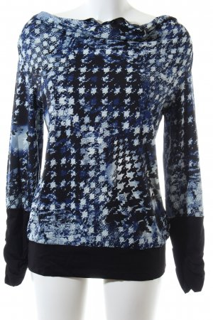 Comma Langarm-Bluse Allover-Druck Casual-Look
