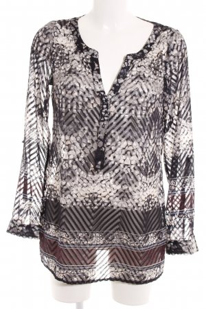 Comma Langarm-Bluse abstraktes Muster Casual-Look