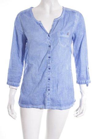 Comma Langarm-Bluse blau Casual-Look