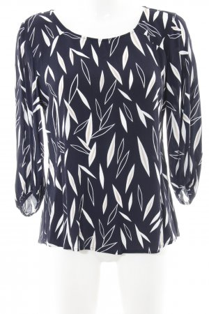 Comma Blouse met lange mouwen donkerblauw abstract patroon elegant