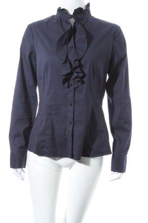 Comma Langarm-Bluse dunkelblau Romantik-Look