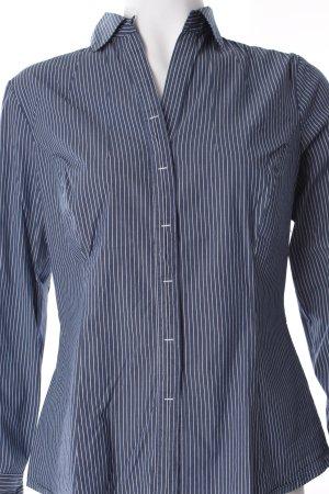 Comma Langarm-Bluse graublau-weiß Streifenmuster Business-Look