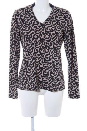 Comma Langarm-Bluse hellbeige-dunkelblau Monogram-Muster Street-Fashion-Look
