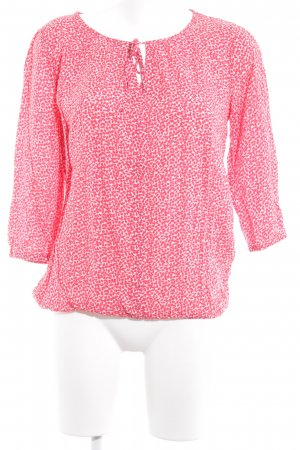 Comma Blouse met lange mouwen lichtrood-wit abstract patroon casual uitstraling