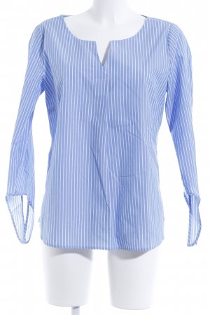 Comma Langarm-Bluse himmelblau-weiß Streifenmuster Casual-Look