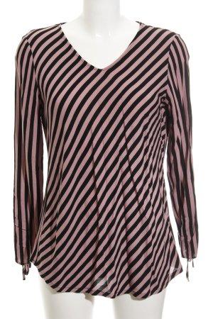 Comma Langarm-Bluse roségoldfarben-schwarz Streifenmuster 80ies-Stil
