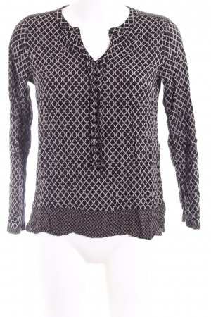 Comma Langarm-Bluse schwarz grafisches Muster Casual-Look