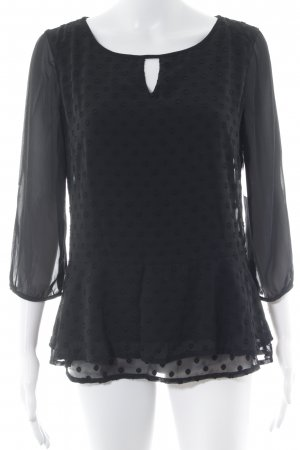 Comma Langarm-Bluse schwarz Punktemuster Casual-Look