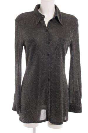 Comma Langarm-Bluse schwarz-silberfarben Elegant