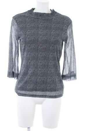 Comma Langarm-Bluse schwarz-wollweiß Allover-Druck klassischer Stil