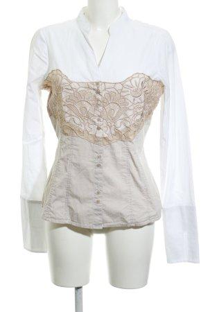 Comma Blouse à manches longues blanc-beige motif floral Garniture de dentelle