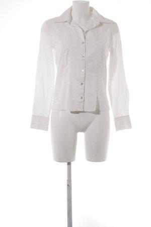 Comma Langarm-Bluse weiß-creme schlichter Stil
