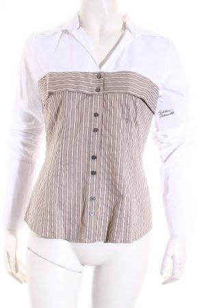 Comma Langarm-Bluse weiß-hellbraun Streifenmuster Casual-Look