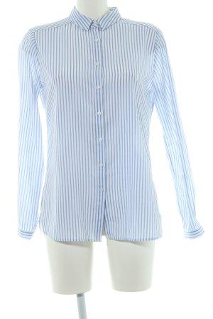 Comma Blouse à manches longues blanc-bleu acier motif rayé style d'affaires