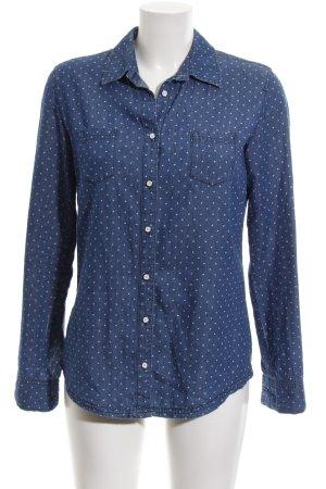 Comma Langarmhemd blau-weiß Punktemuster Casual-Look