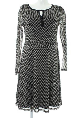 Comma Vestido de manga larga negro-gris claro estampado gráfico elegante