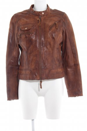 Comma Leather Jacket brown casual look