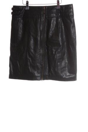Comma Falda de cuero negro look casual