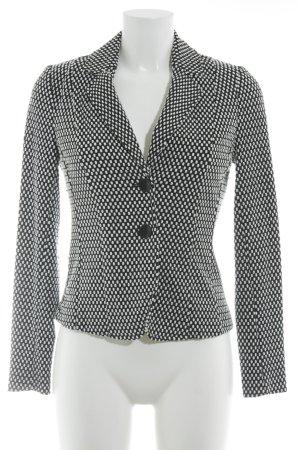 Comma Long-Blazer schwarz-weiß Punktemuster Casual-Look
