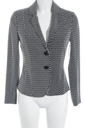 Comma Long-Blazer schwarz-weiß Punktemuster klassischer Stil