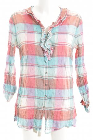 Comma Long-Bluse türkis-pink Karomuster Casual-Look