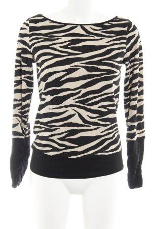 Comma Long-Bluse schwarz-hellbeige Animalmuster Casual-Look