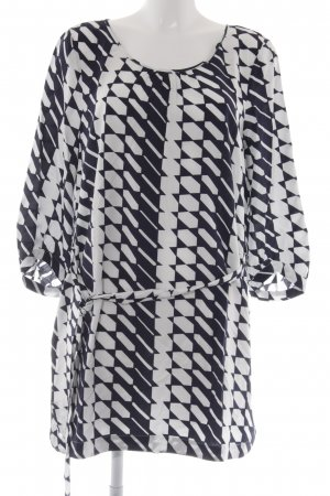 Comma Long-Bluse weiß-dunkelblau abstraktes Muster klassischer Stil