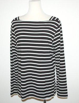 Comma Lang shirt wit-donkerblauw Viscose