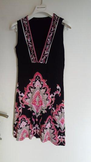 Comma Longshirt Minikleid schwarz pink Gr. 34 passt auch 36/38